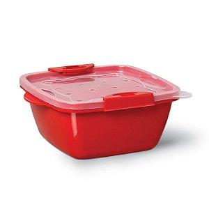 Pote UP Quadrado 1,17L vermelho Trava 494510 - Niquelplast