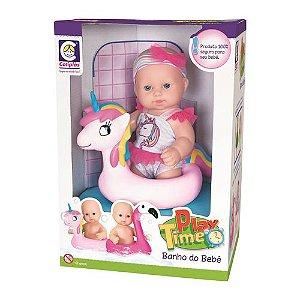 Boneca Play Time Banho Do Bebê Unicórnio Cotiplas