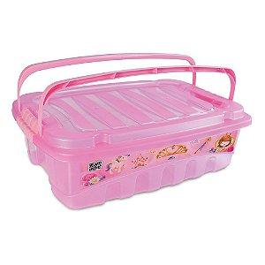 Caixa de Plástico 9,3 L com Tavas Laterais e Alça Baby Princess Plasutil