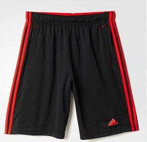 Short Adidas Knit Essentials Masculino - Preto e Vermelho