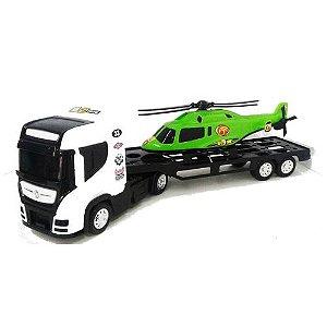Caminhão Top Truck com Mini Helicóptero - Bs Toys