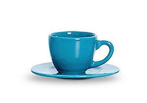 Xicara Com Pires Standard Azul Turquesa - Scalla