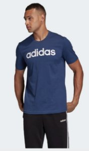 Camiseta Logo Essentials Linear Azul Adidas