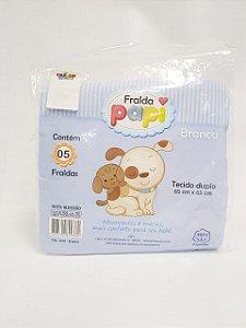 Kit Com 5 Fraldas De Pano Branco Papi - Infantil