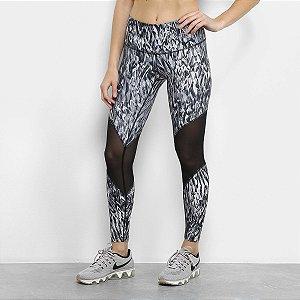 Calça Legging Nike High Rise Printed Tight - Cinza e Preto