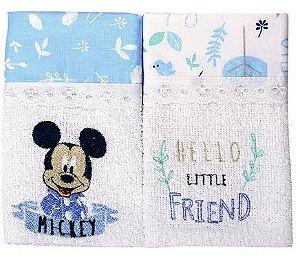 Babete Disney bordada 2 unidades Azul Minasrey - Infantil