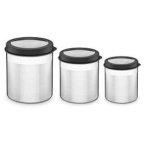 Jogo de Potes Tramontina Cucina em Aço Inox - 3 Peças