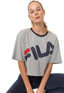 Blusa Cropped Fila Lettering Feminina