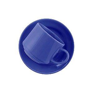 Xícara Oxford Chá 200ml Com Pires Azul Ae045012