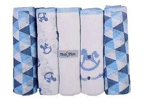 Fralda Muito Mimo Azul 5 Unidades Minasrey- Infantil