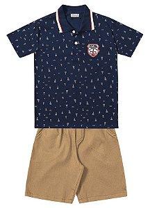 Conjunto Camiseta Polo/Bermuda Fakini - Menino