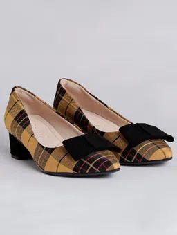 Sapato Bebecê Amarelo Xadrez
