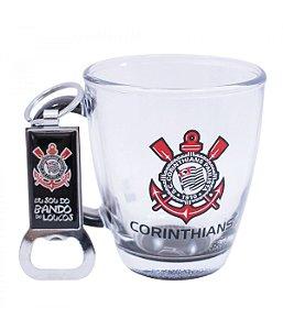 Jogo Com Uma Caneca De Vidro E Um Abridor De Garrafas 370ml - Corinthians