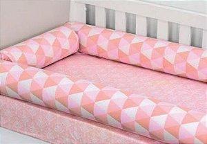 Protetor De Berço Rolinhos Muito Mimo Rosa Minasrey- Infantil