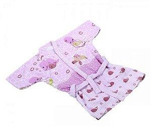Roupão De Banho Filhotes Rosa Minasrey- Infantil