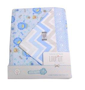 Toalha de Felpa com forro em fralda Loupiot Azul Minasrey- Infantil