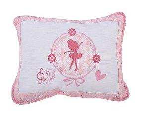 Travesseiro Bordado Rosa Muito Mimo- Infantil