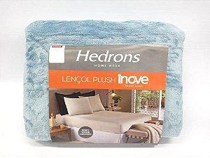 Lençol Plush Liso Queen - Azul Stone - Hedrons