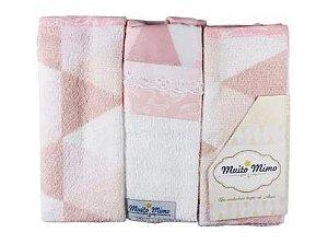 Babete 3 Unidades Rosa Muito Mimo Minasrey- Infantil