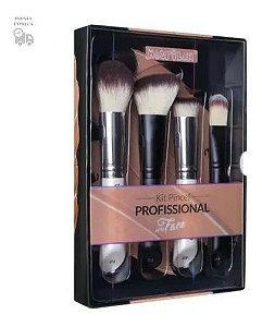 Kit Com 4 Pinceis Para Face Profissional Macrilan Wb200