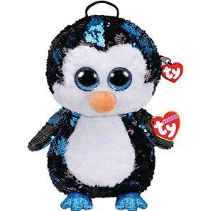 Mochila Com Alça Ty Fashion Paetê Pinguim Waddles - Dtc
