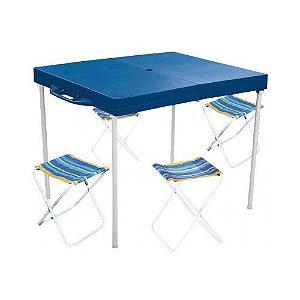 Mesa Prática com 4 Banquetas Azul Mor