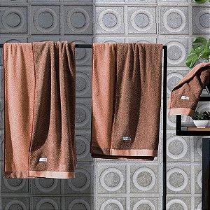 Toalha De Rosto Contemporânea Laranja Com Marrom 50 cm x 80 cm Altenburg