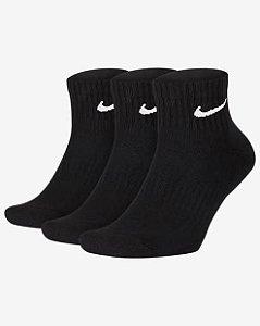 Meias Nike Everyday Cushion Ankle 3 pares - Preta