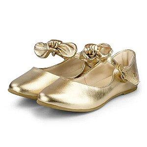Sapatilha Infantil Bibi Feminina de Couro Dourada Renascence - 1069136