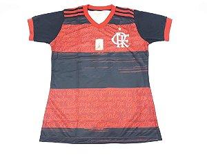 Camisa do Flamengo Baby Look Preto e Vermelho - Ginga