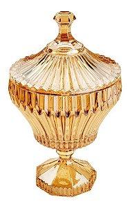 Potiche De Cristal Com Pé Renaissance Âmbar 11,5 cm x 21 Cm - Coliseu