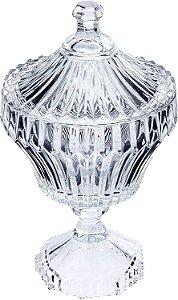Potiche De Cristal Com Pé Renaissance Transparente 11,5 cm x 21 cm Lyor - Coliseu