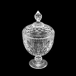 Potiche De Cristal Com Pé Diamond Transparente 15 cm x 28 cm - Coliseu