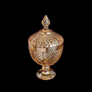 Potiche De Cristal Com Pé Perseu Âmbar 15x28cm Lyor - Coliseu