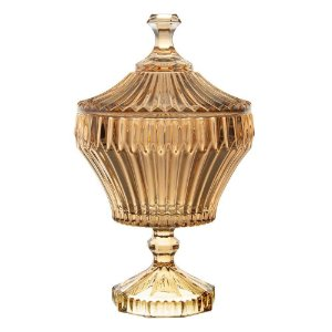 Potiche De Cristal Com Pé Renaissance Âmbar 17,5x28,5cm Lyor - Coliseu
