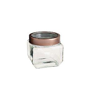Pote De Vidro Transparente Com Tampa De Acrílico Rosé Gold 800ml Lyor - Coliseu