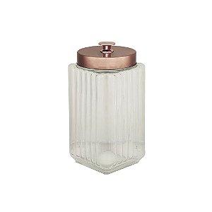 Porta Mantimento De Vidro Com Tampa De Metal Rosé Dourado Lyor 11,5x24cm - Coliseu