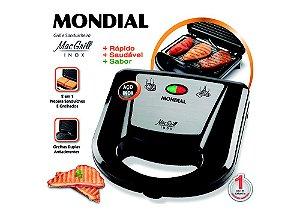 Grill E Sanduicheira Mac Grill Inox, S-11, 127V - Mondial