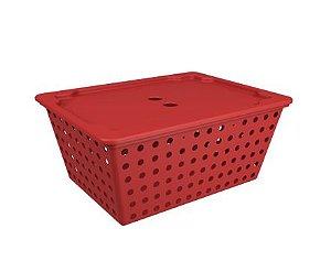 Cesta One Maxi Com Tampa Vermelha Bold Coza - Brinox