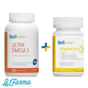Kit Belt Vitamina D (2.000UI) + Belt Ômega 3 867mg.