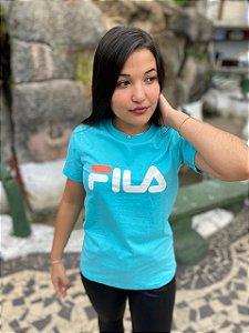 Camiseta Fila Basic Letter Feminina Azul Turquesa