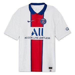 Camisa Paris Saint-Germain Away 20/21 s/n° Torcedor Nike Masculina Branco e Azul
