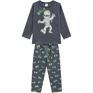 Kyly Pijama Inf Masc Ml 207.252 Cor Cinza