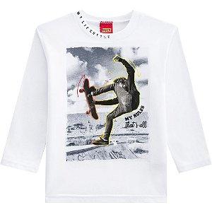 Kyly Camiseta Infantil Masculina Manga Longa 207.191 Cor Branco