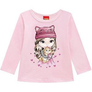 Kyly Blusa Infantil Feminina Manga Longa Malha 207.080 Cor Rosa Claro