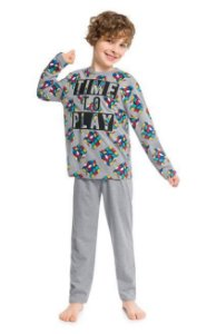 Kyly Pijama Infantil Masculino Manga Longa 207.255 Cor Cinza Claro