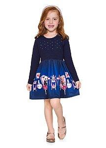 Brandili Vestido Infantil Manga Longa 53489 Cor Azul Marinho