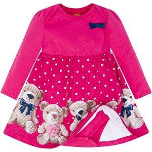 Kyly Vestido Inf Fem Malha Ml 207.054 Cor Rosa Pink