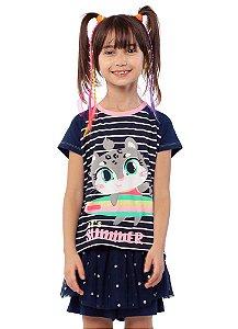Puket Pijama Inf Femin 030402074 Cor Azul Marinho