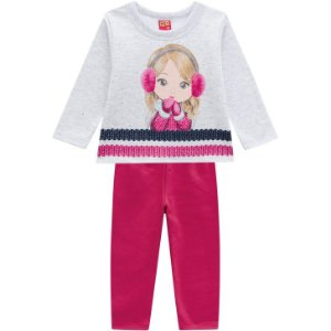 Kyly Conjunto Infantil Feminino Manga Longa P207347 Cor Branco